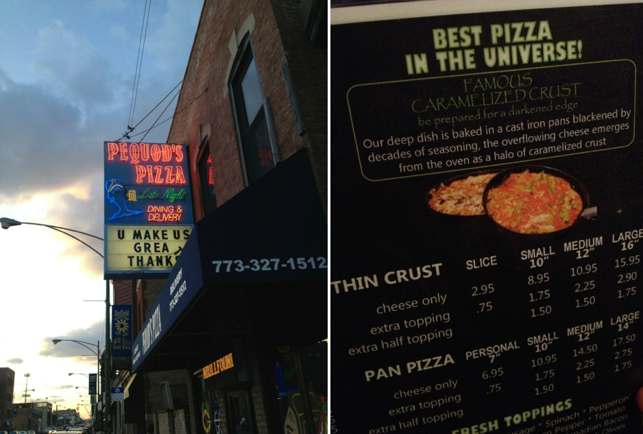 things to do in Chicago at night - Pizza at Pequod's Pizza
