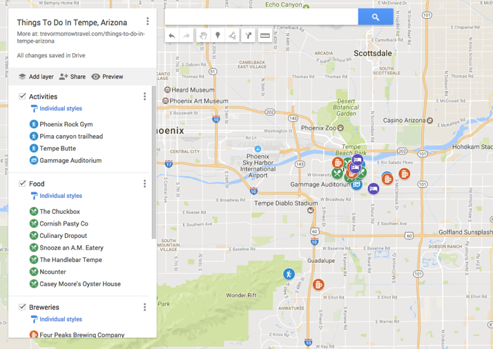 Things to Do In Tempe Arizona Map
